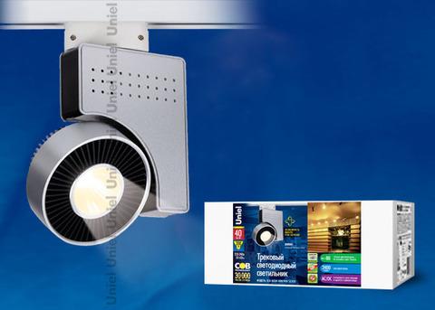 ULB-M03А-40W/WW SILVER Светильник светодиодный трековый. Мощность - 40 Вт. Световой поток — 2400 Лм. Цвет свечения — теплый белый. Степень защиты IP20. Диаметр -3
