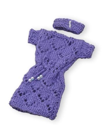 Вязаное платье - Фиолетовый. Одежда для кукол, пупсов и мягких игрушек.