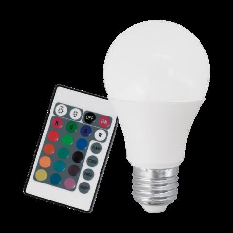 Лампа RGB LED диммируемая с пультом Eglo RGB-W INFRARED LM-LED-E27 7,5W 470Lm 3000K A60 10899
