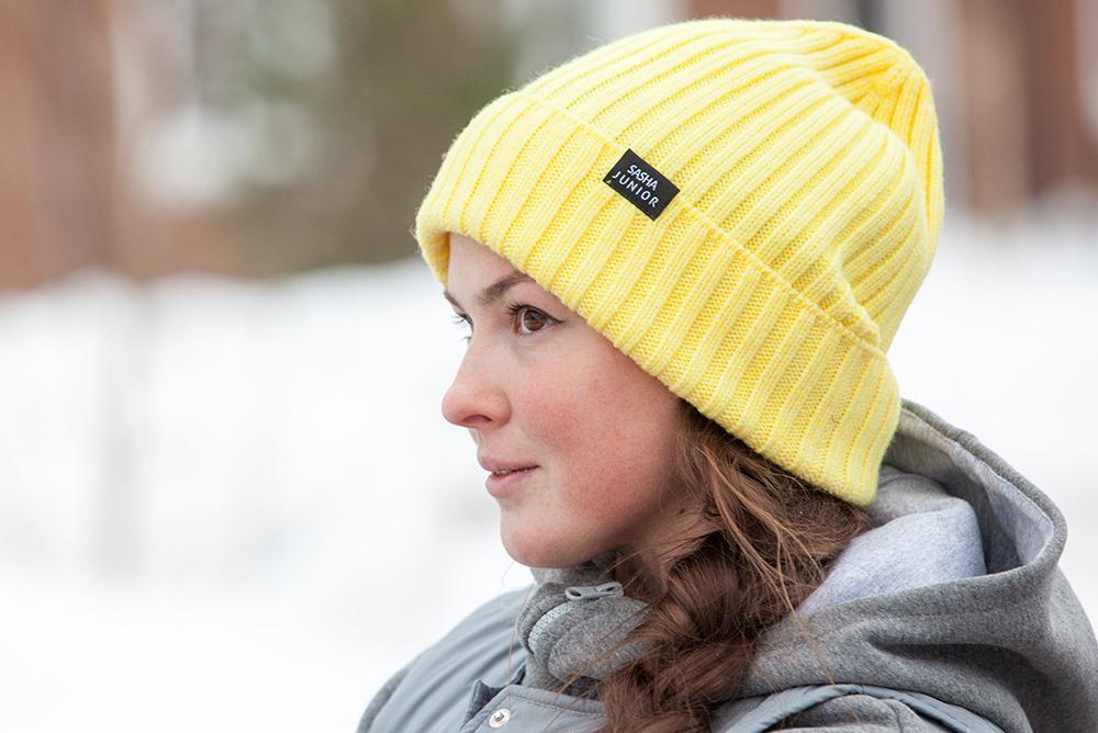 шапка вязаная цвет желтый SASHA JUNIOR