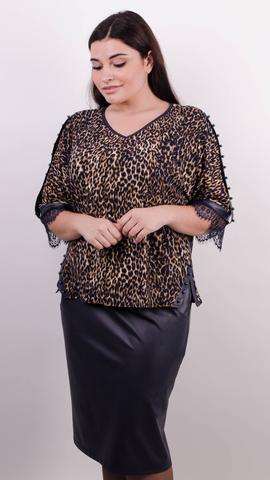 Мегги. Праздничный костюм для женщин больших размеров. Леопард+синий.