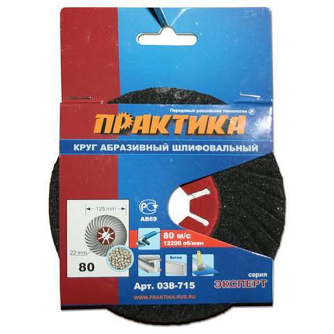 Круг абразивный торцевой ПРАКТИКА 125 х 22 мм Р 80 (1 шт)  картонный подвес