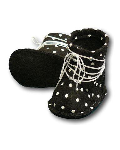 Сапожки из фетра со шнуровкой - Черный. Одежда для кукол, пупсов и мягких игрушек.