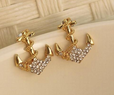 Серьги Золотой якорь с кристалликами