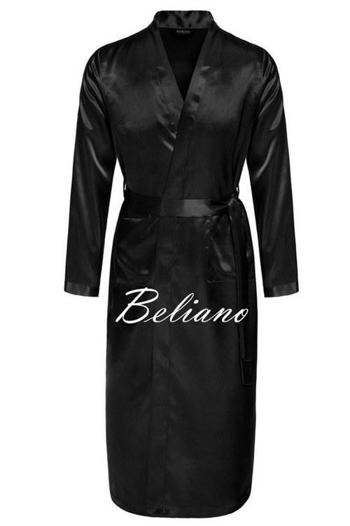 3dc200d745c5f84 Мужской шелковый домашний халат черного цвета. Натуральный шелк. Длинный  или короткий