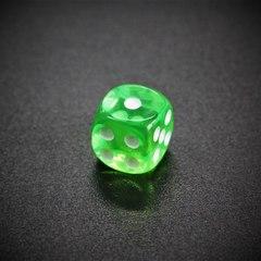 Кубик D6: прозрачный зеленый