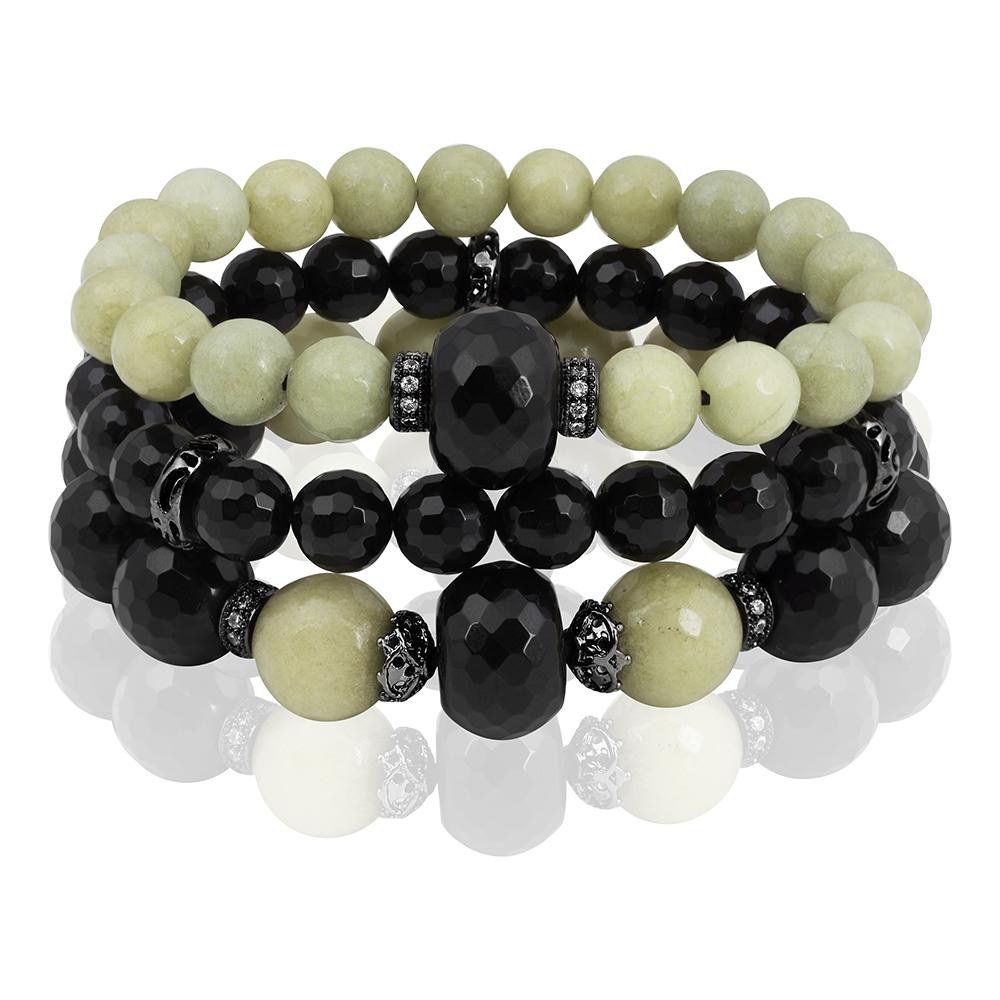 """Купить со скидкой Комплект """"Olive"""" из трех браслетов из черного агата и агата цвета оливы с черными родированныи встав"""