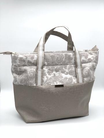 Проектная сумка большая, бежевая с узором 39*32 см