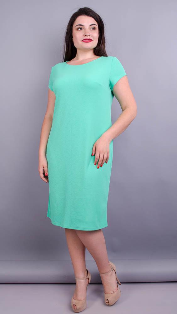 Аріна літо креп. Яскрава сукня великих розмірів. М'ята.