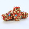 """Бусина """"Индонезийская"""" ручной работы красная с золотым, 26х15 мм"""