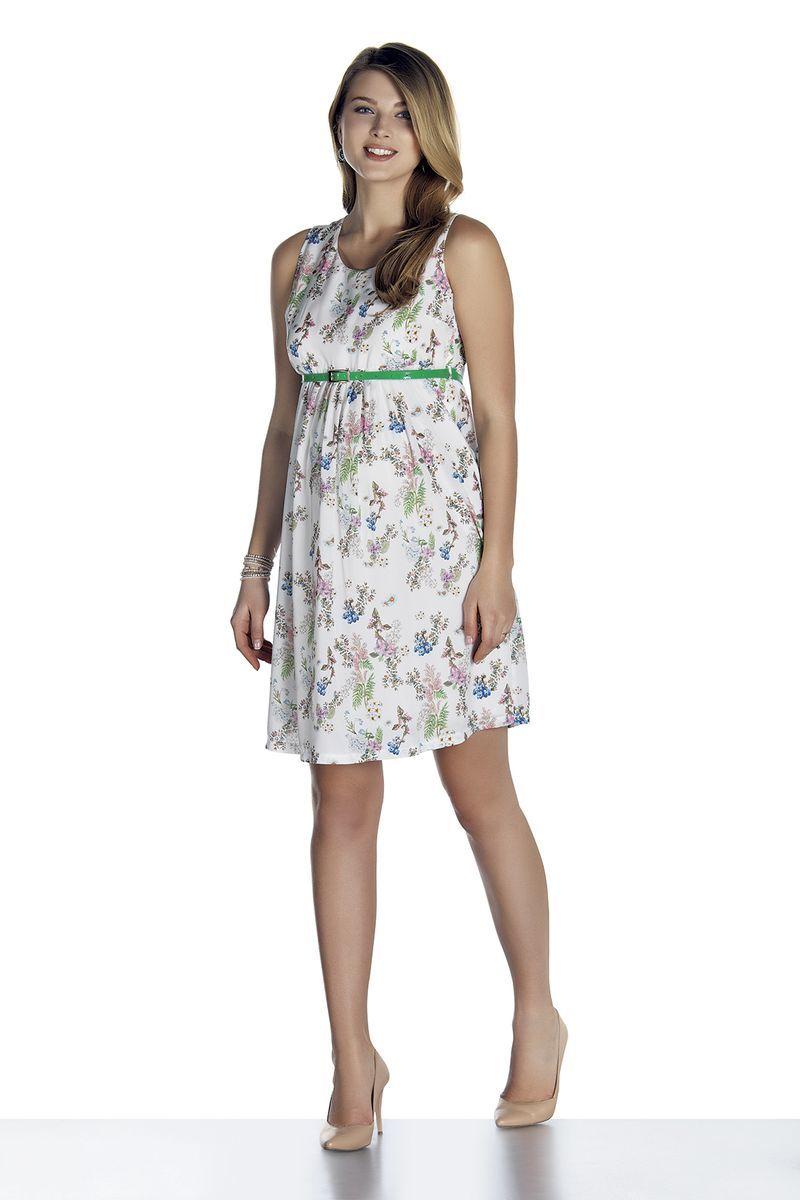 Платье для беременных 08480 белый/принт цветы