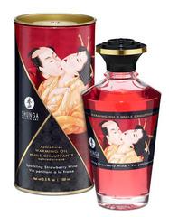 Съедобное массажное масло SHUNGA APHRODISIAC WARMING OIL Sparkling Strawberry Wine - Игристое клубничное вино (100 мл)