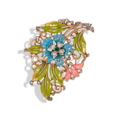 "Фур-клип от Trifari ""Цветы"" с эмалью и кристаллами, 1930-е годы  |  1930s Trifari Enamel Rhinestone Flower Figural Fur Clip Brooch"