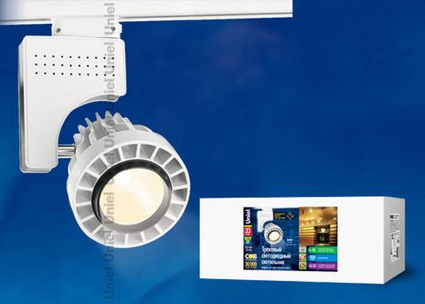 ULB-M04А-33W/WW WHITE Светильник светодиодный трековый. Мощность - 33 Вт. Световой поток — 2300 Лм. Цвет свечения — теплый белый. Степень защиты IP20. Диаметр -3