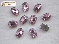 Камень овал в цапах 10*14 мм розовый