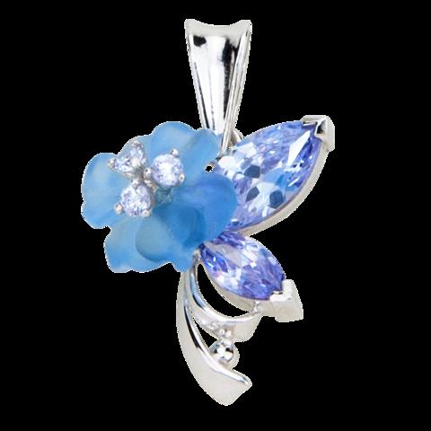 Подвеска с цветком из голубого кварца и кубическим цирконием цвета лаванды