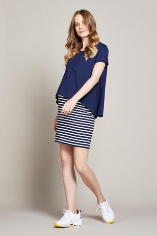 Платье для беременных и кормящих 10216 синий/белый