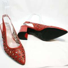 Летние босоножки туфли на толстом каблуке женские G.U.E.R.O G067-TN Red.