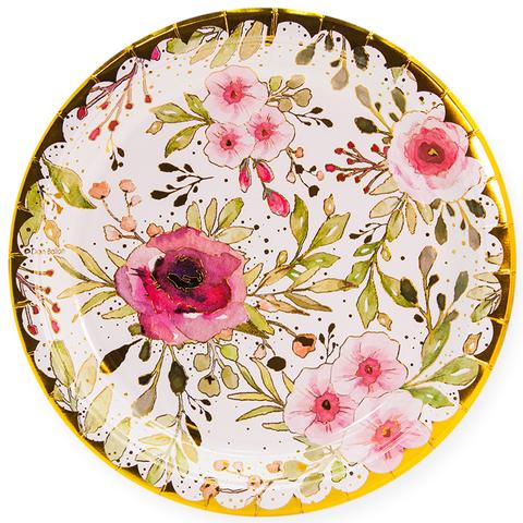 Тарелки 23 см., Акварельные цветы, 6шт.