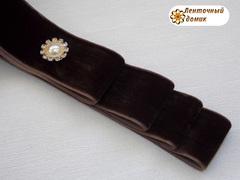 Лента Бархатная коричневая ширина 38 мм