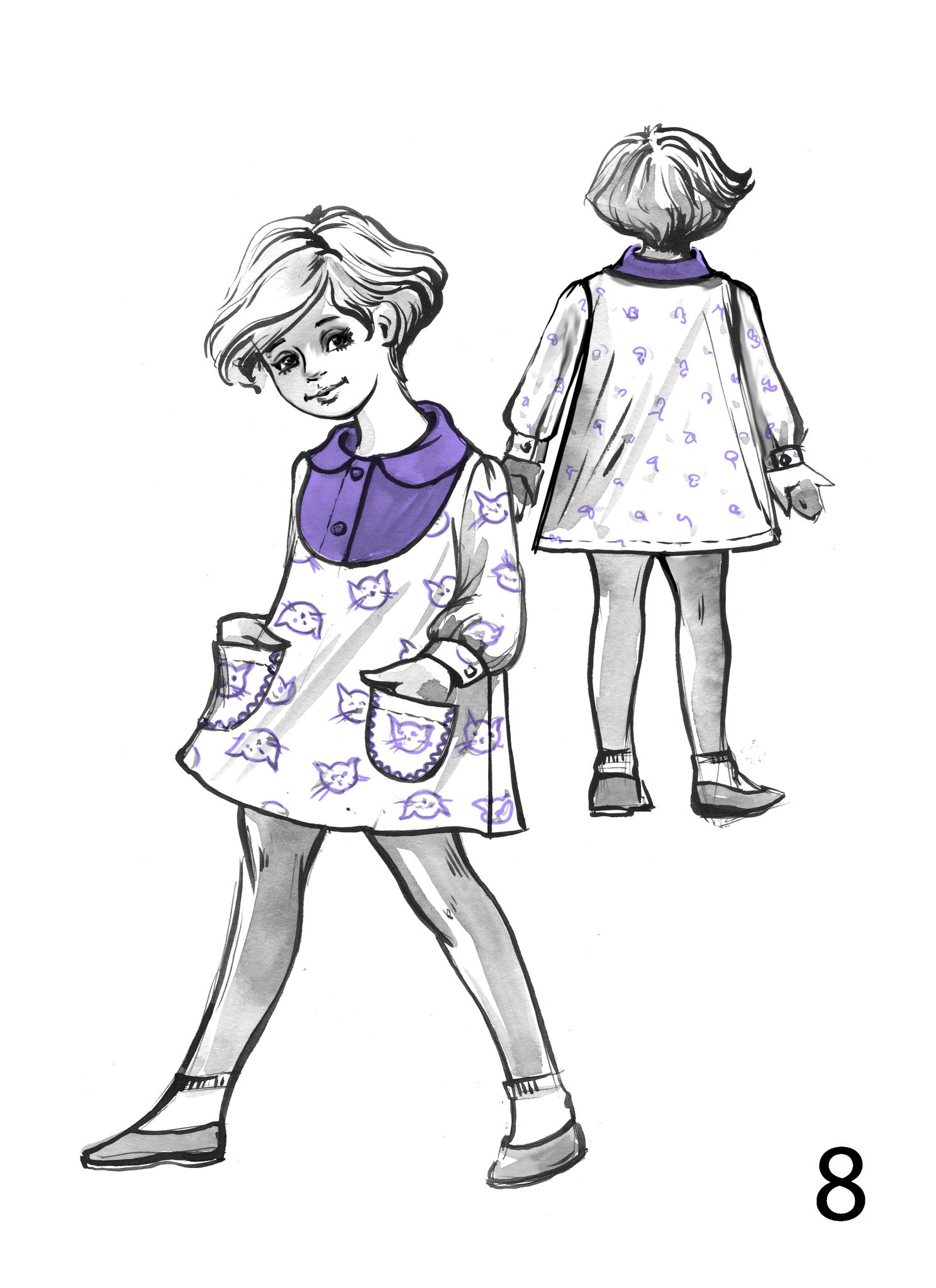 Детское платье с круглой кокеткой(манишкой) воротничком и милыми кармашками