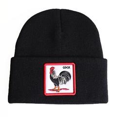 Вязаная шапка с принтом (эмблемой) Петуха черная