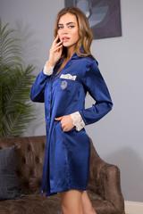 Шелковая рубашка женская для дома и отдыха синяя