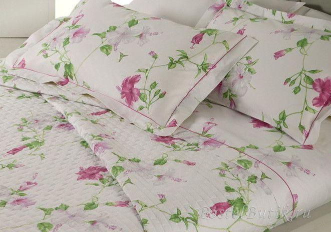 Постельное белье семейное Mirabello Hibiscus белое с темно-розовыми цветами