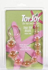 Розовая анальная цепочка с колечком - 25 см.