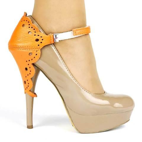 Автопятка для женской обуви на каблуке ажурная оранжевая