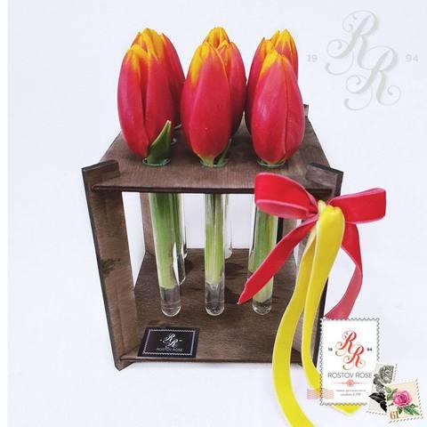 9 красно-желтых тюльпанов в пробирке