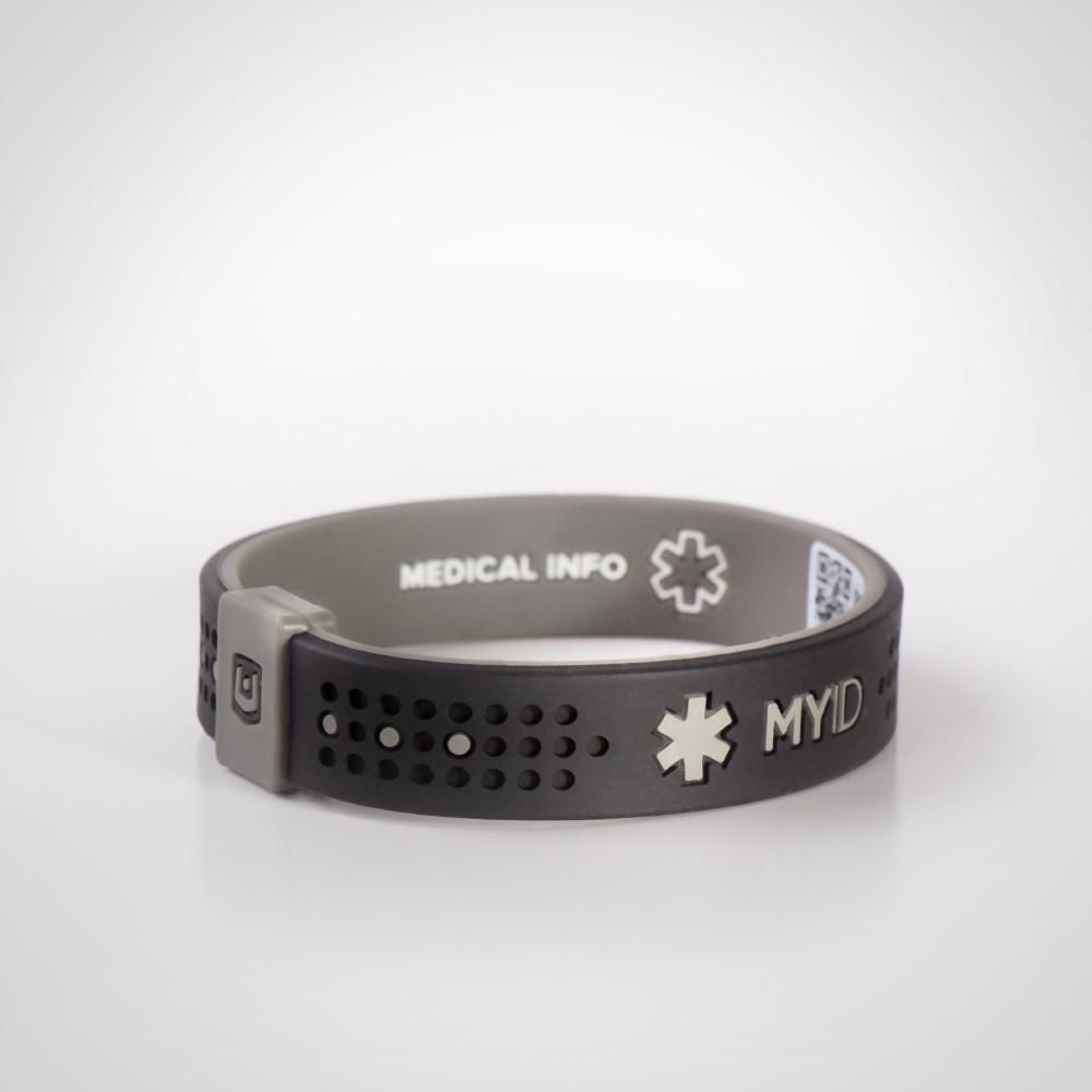 Информационный энергетический браслет My ID Sport черный/серый