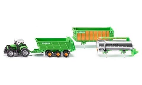 Siku. Трактор  Дотц Фар с набором прицепов ( 3 шт ) (1:87)