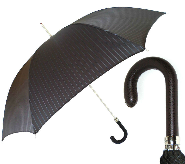 Зонт-трость Pasotti 478-1084-2- Brown Leather