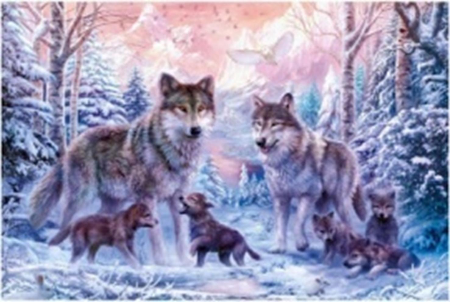 Картина раскраска по номерам 30x40 Семья волков в зимнем ...