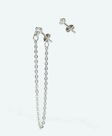 Серебряные серьги пуссеты с белыми фианитами