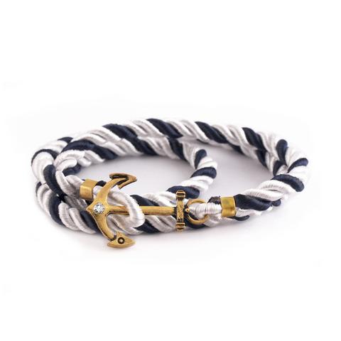 Черно-белый браслет с золотым якорем