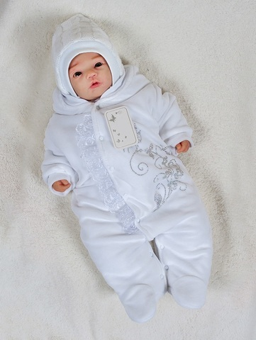 Комбинезон с шапкой для новорожденных Butterflies белый