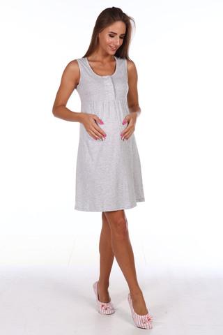 Мамаландия. Сорочка для беременных и кормящих с кнопками, серый меланж