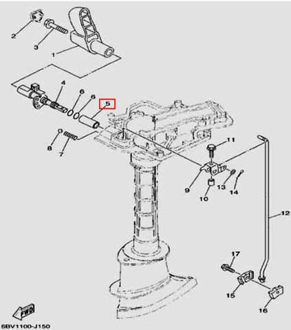 Втулка 16X12X37.5 для лодочного мотора F5 Sea-PRO(15-5)