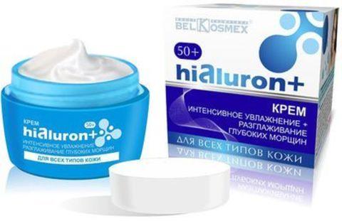 BelKosmex Hialuron+ Крем интенсивное увлажнение + разглаживание глубоких морщин 50+ для всех типов кожи 48г
