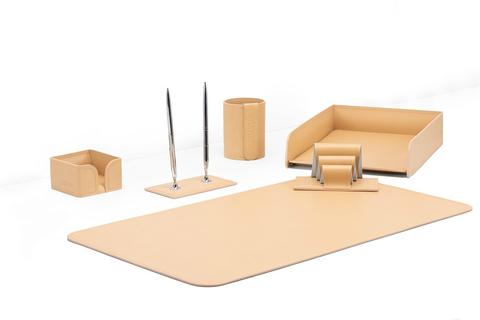 Настольный набор для руководителя 6 предметов из кожи цвет натуральный