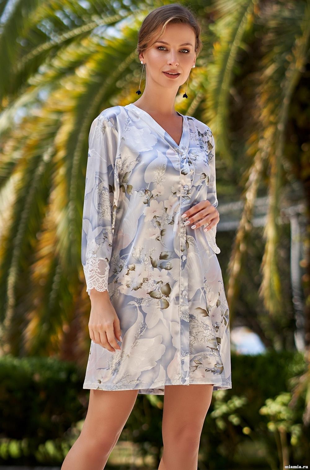 Шелковые халаты Рубашка халат на пуговицах  Mia-Amore  NOVELLA  НОВЕЛЛА 3607 3607_1.jpg