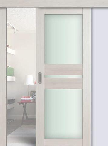 > Экошпон раздвижная Profil Doors №70X-Модерн, стекло матовое, цвет эш вайт мелинга, остекленная