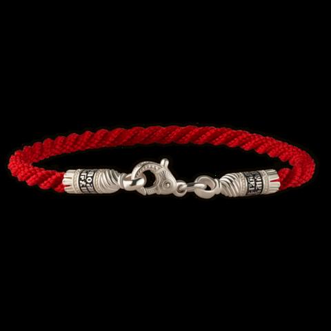 Текстильный, красный браслет 3 мм