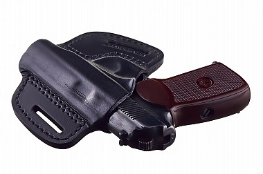 Кожаная кобура на пояс для пистолета Макарова открытая