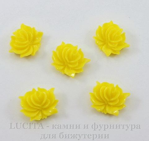 "Кабошон акриловый ""Дикая роза"", цвет - желтый, 12х10 мм, 5 штук"
