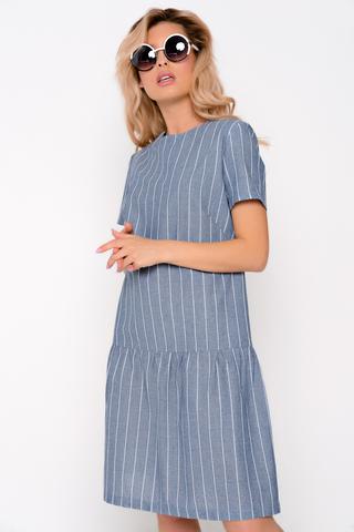 Очаровательное платье свободного кроя с заниженной талией. По низу изделия волан на сборке.  (Длина: 46-92 см; 48- 94 см; 50-95 см; 52-96 см)