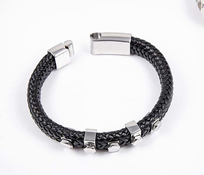 BM596-1 Двойной браслет из пары шнуров со стальными вставками фото 02