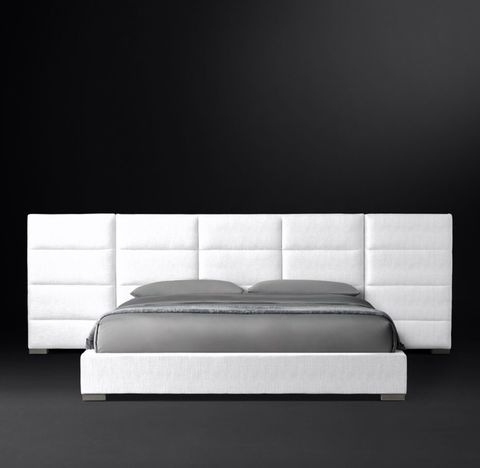 Modena Extended Panel Rectangular Channel Fabric Platform Bed